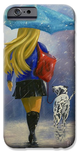 Women Together iPhone Cases -  Woman Walking Dog In Snow iPhone Case by Jorge Rueda