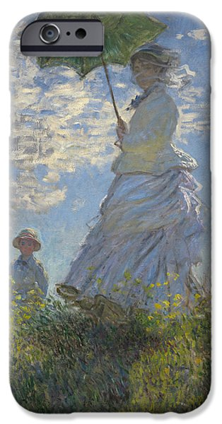 Umbrella iPhone Cases -  Woman with a Parasol Madame Monet and Her Son iPhone Case by Claude Monet