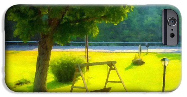 Empty Chairs Paintings iPhone Cases -  Wooden Swing In The Garden iPhone Case by Lanjee Chee