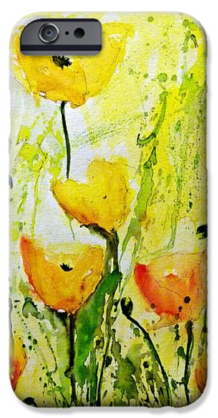 Ismeta iPhone Cases -  Yellow Poppy 2 - Abstract Floral Painting iPhone Case by Ismeta Gruenwald