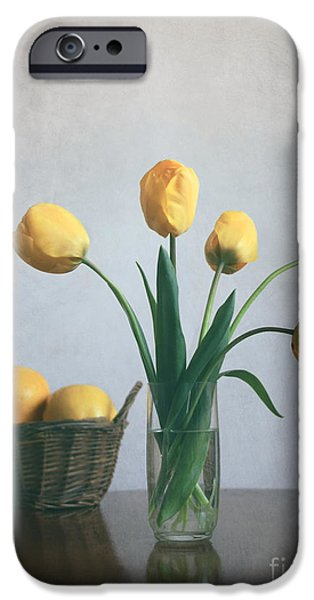 Basket iPhone Cases -  Yellow tulips iPhone Case by Diana Kraleva