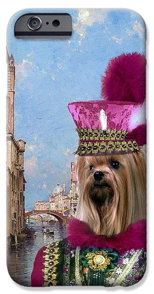 Yorkshire Terrier Art iPhone Cases -  Yorkshire Terrier Art Canvas Print iPhone Case by Sandra Sij