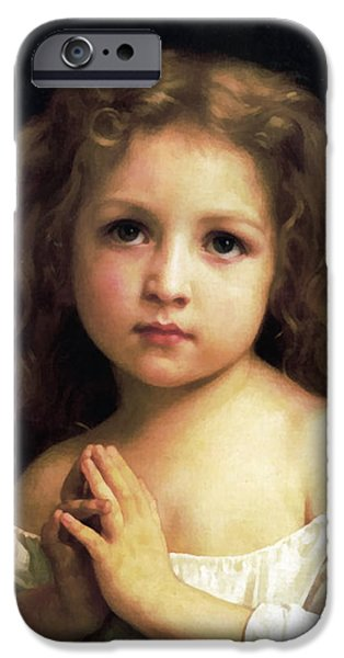 The Followers iPhone Cases -  Young Girl Child Praying iPhone Case by William Bouguereau