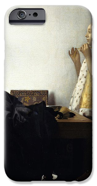 Young Woman with a Pearl Necklace iPhone Case by Johannes Vermeer
