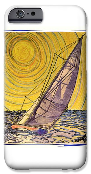 Sailboat Ocean Mixed Media iPhone Cases - 0010 iPhone Case by W Gilroy