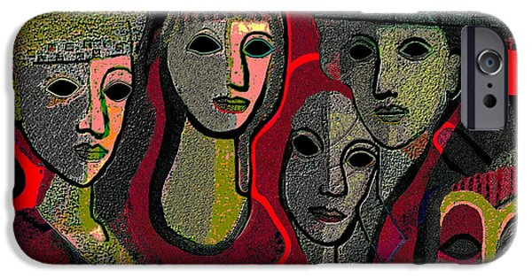 Strange iPhone Cases - 006 - Women and Masks ...  iPhone Case by Irmgard Schoendorf Welch