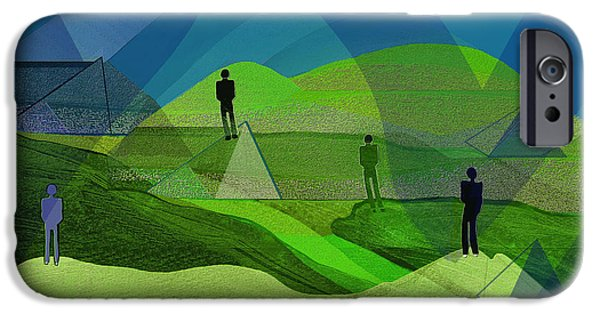 Wall Greeting Cards Digital iPhone Cases - 009 - Men in landscape   iPhone Case by Irmgard Schoendorf Welch
