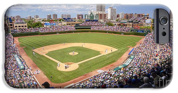 Chicago Cubs iPhone Cases - 0100 Wrigley Field - Chicago Illinois iPhone Case by Steve Sturgill