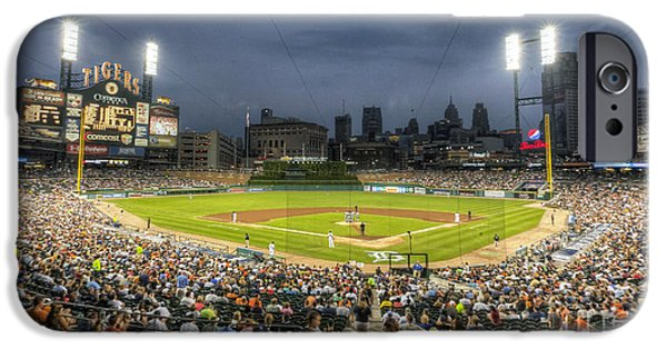 Baseball Stadium iPhone Cases - 0101 Comerica Park - Detroit Michigan iPhone Case by Steve Sturgill