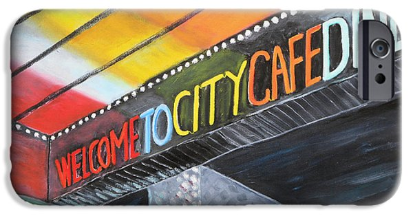 Stainless Steel Paintings iPhone Cases - 024 City Cafe Neon iPhone Case by Gregory Otvos