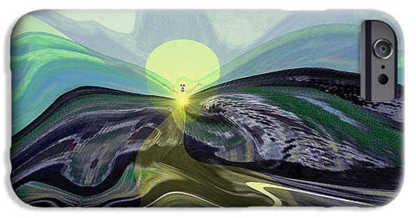 Wall Greeting Cards Digital iPhone Cases - 033 -  Mountain morning with Angel   iPhone Case by Irmgard Schoendorf Welch