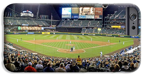 Baseball Stadiums iPhone Cases - 0434 Safeco Field Panoramic iPhone Case by Steve Sturgill