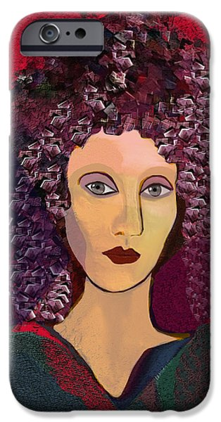 Hairstyle Digital iPhone Cases - 045 -  Woman with green dress.... iPhone Case by Irmgard Schoendorf Welch