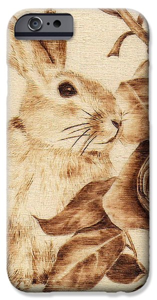 Monotone Pyrography iPhone Cases - #5-Rabbit iPhone Case by Perry Chow