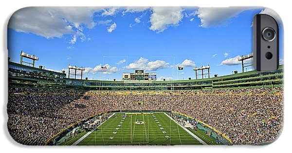 Greens iPhone Cases - 0538 Lambeau Field  iPhone Case by Steve Sturgill