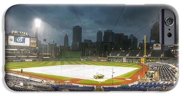 Pennsylvania Baseball Parks iPhone Cases - 0646 Rain Delay - PNC Park Pittsburgh iPhone Case by Steve Sturgill