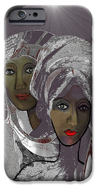 065 - White veiled Ladies   iPhone Case by Irmgard Schoendorf Welch