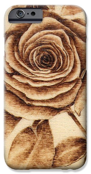 Monotone Pyrography iPhone Cases - #8 - Big Rose iPhone Case by Perry Chow