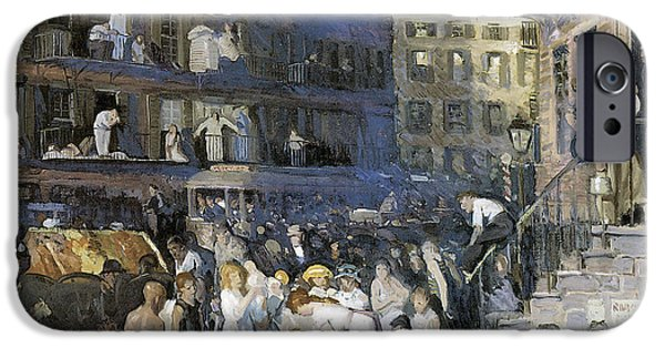 Horse And Buggy iPhone Cases - Cliff Dwellers New York City iPhone Case by George Wesley Bellows
