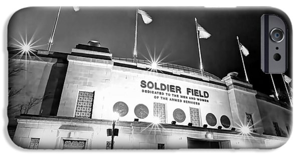 Soldier Field Photographs iPhone Cases - 0879 Soldier Field Black and White iPhone Case by Steve Sturgill