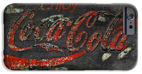 Coca-cola Signs iPhone Cases -  Coca Cola Sign Grungy  iPhone Case by John Stephens