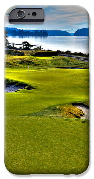 Us Open Photographs iPhone Cases - #17 at Chambers Bay Golf Course - Location of the 2015 U.S. Open Championship iPhone Case by David Patterson