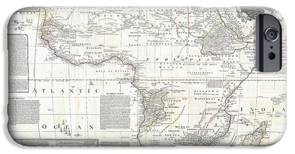 Old Jewish Area iPhone Cases - 1794 Boulton and Anville Wall Map of Africa iPhone Case by Paul Fearn