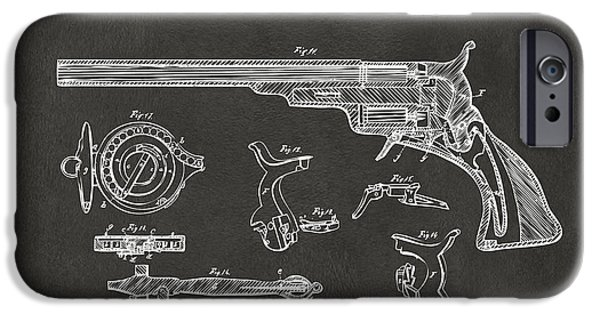 1839 iPhone Cases - 1839 Colt Fire Arm Patent Artwork - Gray iPhone Case by Nikki Marie Smith
