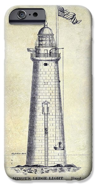 Ledge Photographs iPhone Cases - 1852 Minots Ledge Lighthouse iPhone Case by Jon Neidert