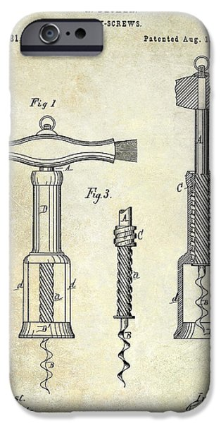 Red Wine iPhone Cases - 1876 Corkscrew Patent drawing iPhone Case by Jon Neidert