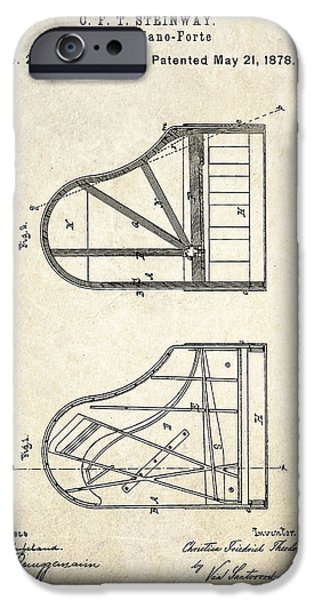 Piano Drawings iPhone Cases - 1878 Steinway Grand Piano Forte Patent Art S. 1 iPhone Case by Gary Bodnar