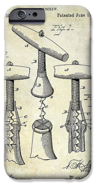 Wine Bottle iPhone Cases - 1883 Corkscrew Patent drawing iPhone Case by Jon Neidert