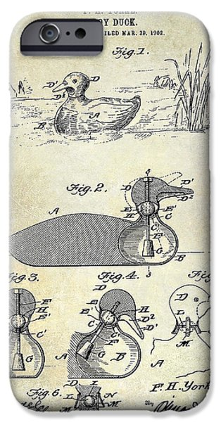 Hunting Bird iPhone Cases - 1902 Duck Decoy Patent Drawing iPhone Case by Jon Neidert