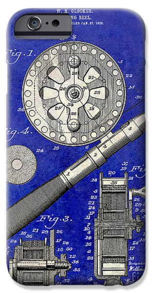 Cape Cod iPhone Cases - 1906 Fishing Reel Patent Drawing Blue 2 Tone iPhone Case by Jon Neidert
