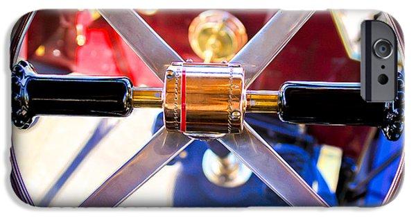 1907 iPhone Cases - 1907 Panhard et Levassor Demi Toneau 38 HP Steering Wheel iPhone Case by Jill Reger