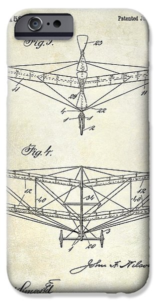 Vintage Plane iPhone Cases - 1909 Flying Machine Patent Drawing  iPhone Case by Jon Neidert