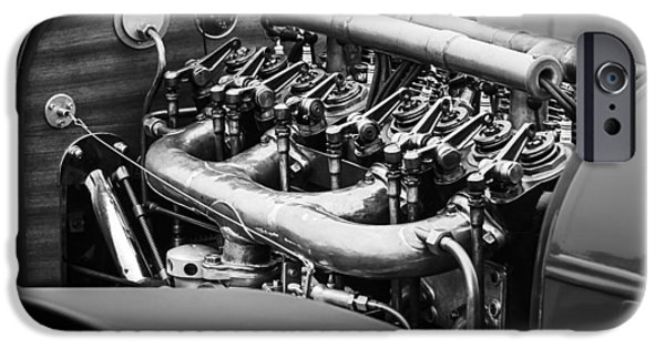 D.w iPhone Cases - 1910 Benz 22-80 Prinz Heinrich Renn Wagen Engine iPhone Case by Jill Reger