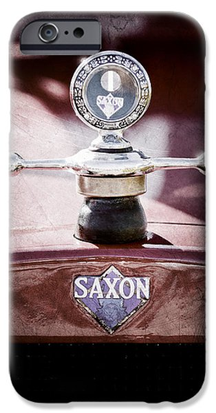 Motometer iPhone Cases - 1915 Saxon Roadster Hood Ornament iPhone Case by Jill Reger