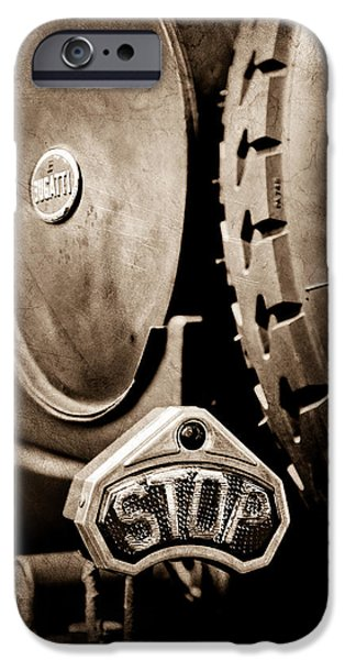 Bugatti Vintage Car iPhone Cases - 1920 Bugatti Type 13 Taillight iPhone Case by Jill Reger
