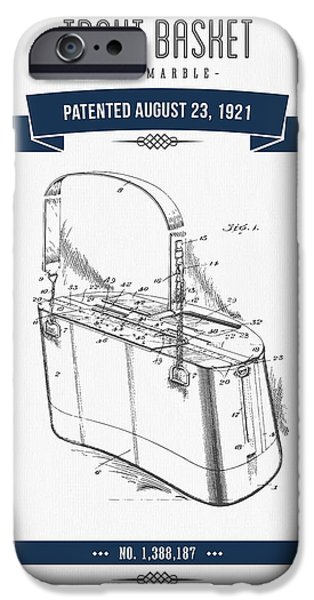 Basket Mixed Media iPhone Cases - 1921 Trout Basket Patent Drawing - Navy Blue iPhone Case by Aged Pixel