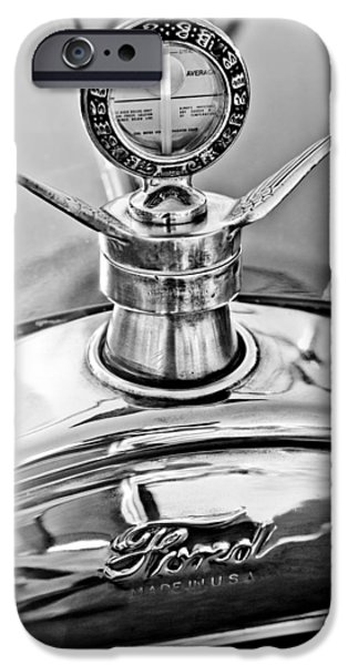 Ford Model T Car iPhone Cases - 1923 Ford Model T Hood Ornament iPhone Case by Jill Reger