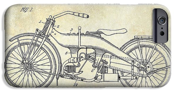 Victory iPhone Cases - 1924 Harley Davidson Motorcycle Patent  iPhone Case by Jon Neidert