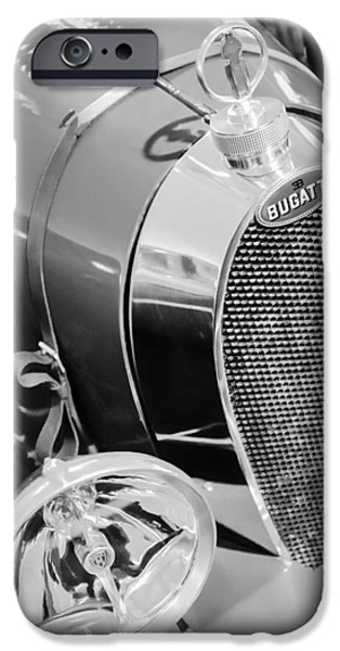 Bugatti Vintage Car iPhone Cases - 1925 Bugatti Type 35 Grand Prix Grille Emblem - Hood Ornament iPhone Case by Jill Reger