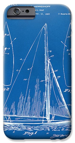 Blue Sailboats iPhone Cases - 1927 Sailboat Patent Artwork - Blueprint iPhone Case by Nikki Marie Smith