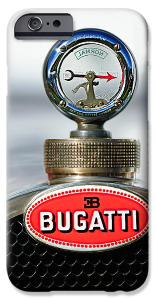 Bugatti Vintage Car iPhone Cases - 1928 Bugatti Type 44 Cabriolet Hood Ornament - Emblem iPhone Case by Jill Reger