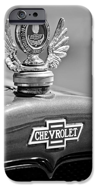 1928 Chevrolet Stake Bed Pickup Hood Ornament iPhone Case by Jill Reger