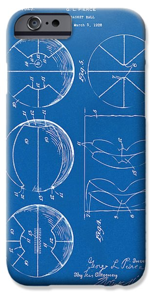 Basket Ball Game iPhone Cases - 1929 Basketball Patent Artwork - Blueprint iPhone Case by Nikki Marie Smith