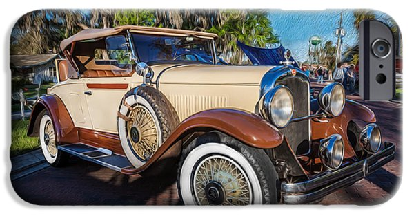 2 Seat iPhone Cases - 1929 REO Flying Cloud Convertible Painted  iPhone Case by Rich Franco