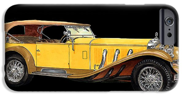 Classic Car Paintings iPhone Cases - 1930 Mercedes Benz Ss Tourer iPhone Case by Jack Pumphrey
