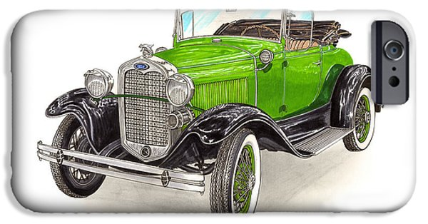 Classic Car Paintings iPhone Cases - 1931 Ford Model A Roadster iPhone Case by Jack Pumphrey